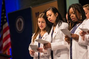 White Coat Ceremony for sophomore nursing students, funded in part by the Arnold P. Gold Foundation