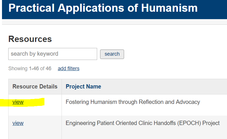 """Screenshot of Practical Applications of Humanism Database """"View"""" link"""