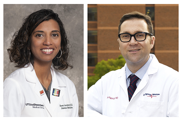 2019 Gold Humanism Scholar at the Harvard Macy Institute: Reeni A. Abraham, MD of University of Texas Southwestern Medical School, left, and Dimitrios Papanagnou, MD of Thomas Jefferson University,