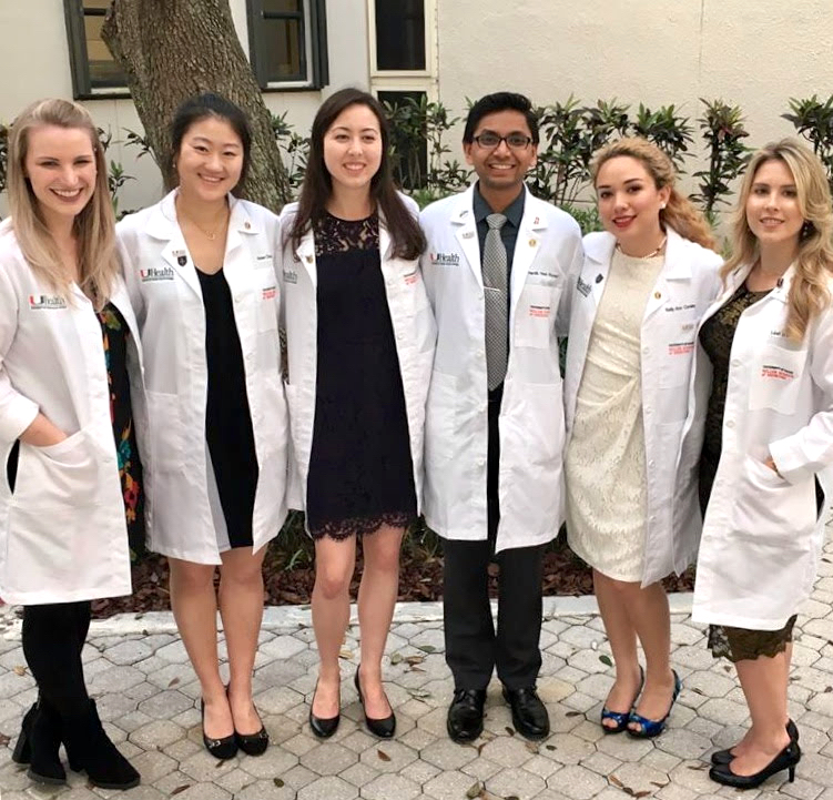 From left, Amy Vidalin (logistics coordinator), Vivien Chen (physician liaison), Jasmine Tomita-Barber (project manager), Hardik Patel (project manager and director of the Patient Navigation Program), Kelly Conley (patient liaison), and Leah Colucci (student liaison) are University of Miami second-year MD and MD/MPH students who run the daily operations of the IDEA Wound Care Clinic. (Credit: IDEA Wound Care Clinic)